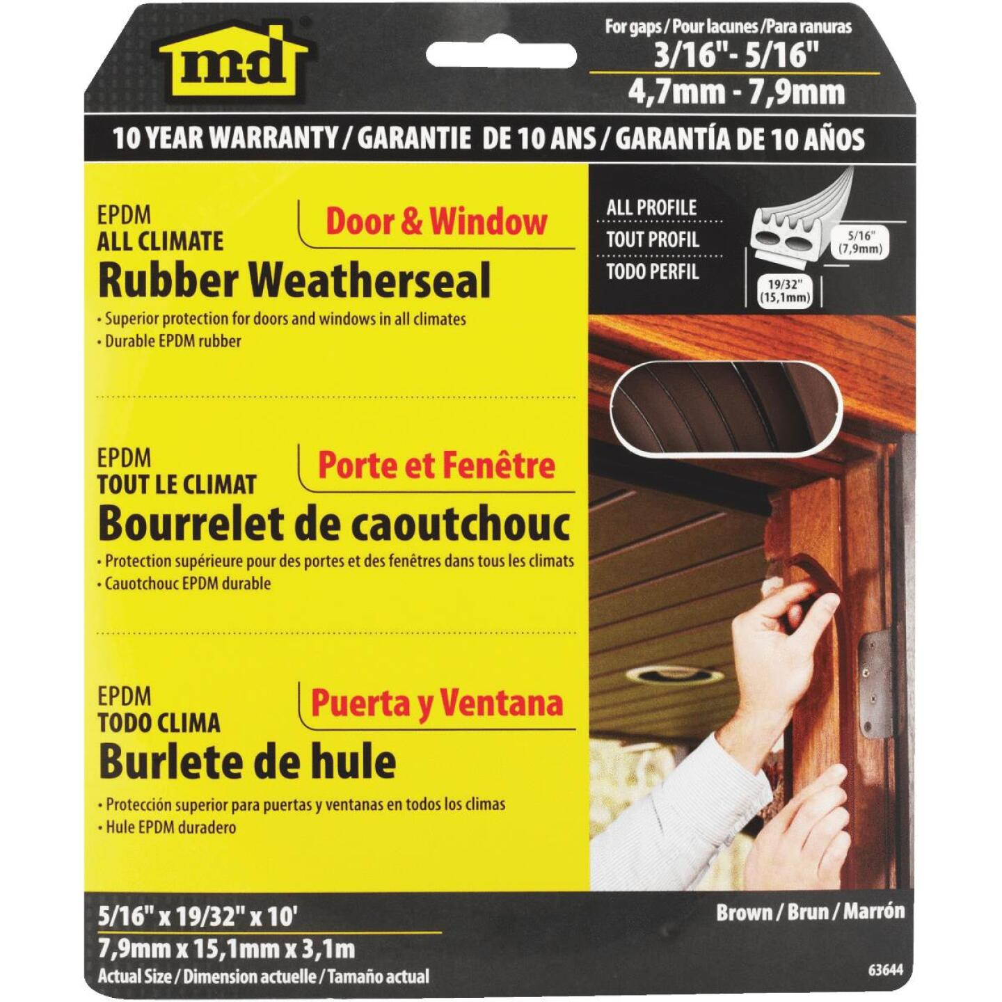 """M-D Brown 10' 19/32"""" Rubber Weatherstrip Image 1"""