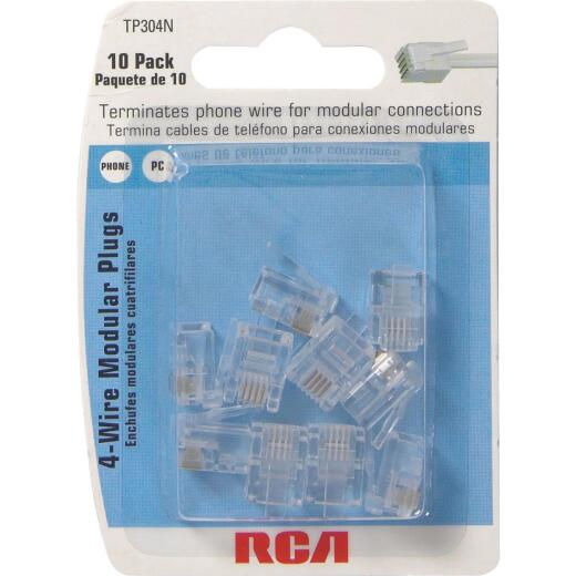 RCA Clear 4-Wire Modular Outlet Phone Plug (10-Pack)